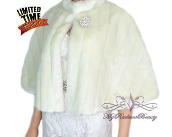Faux Fur Wrap, Faux Fur Stole, Ivory Bridal Cape, Bridal Fur Stole, Mink Fur Cape, Bridal Wrap, Faux Fur Shrug, Fox Fur Shawl MC108-IVY