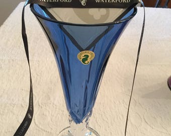 """Waterford Lismore 9""""Sapphire flared vase, brilliance color of the Lismore pattern,Lismore diamon and wedge cuts signature pattern."""