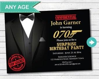 Surprise 70th birthday invitation. Any age surprise birthday invitation. 40th 50th 60th 70th birthday invite, black and golda event. AB048