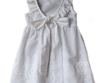 White Eyelet Ruffled Sundress