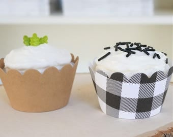 Fast Shipping - Yasss! - PLAID and BROWN Cupcake Wrappers - Set of 24 - Lumberjack First Birthday - Wild One - Rustic - Wedding - Camping