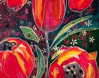 Batik Floral watercolor I painted on 140 lb. hot press watercolor paper using masking fluid and watercolors.