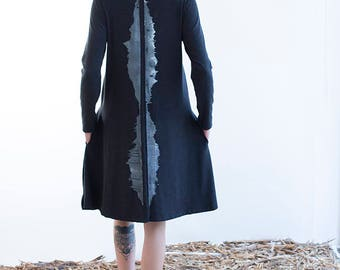Tunic Dress - Black A Line Dress with Print - Long Sleeve Dress with Pockets  - Black Knit Dress - Loose Fit dress