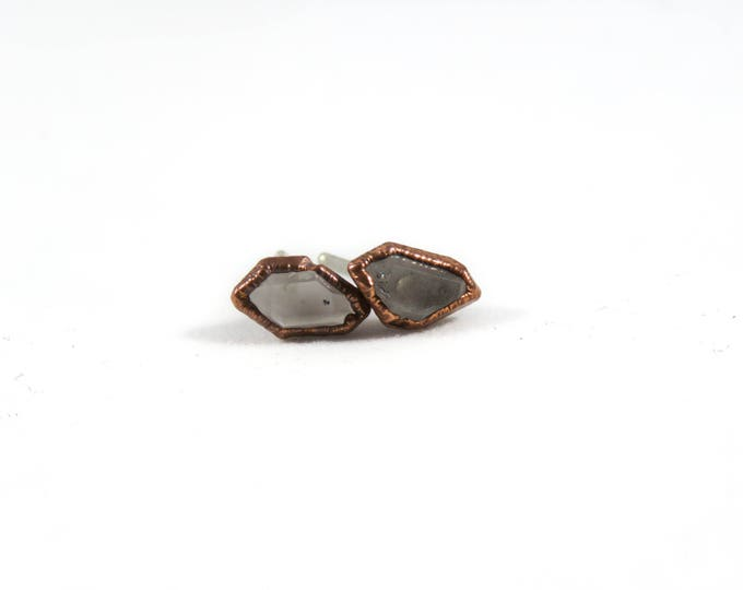Herkimer Earrings - Quartz Earrings - Copper Earrings - Stone Earrings - Herkimer Diamond
