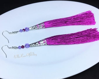 Fuchsia Satin Tassel Earrings featuring Swarovski Violet and Fuchsia AB Crystals and Silver plated Filigree Cones ~ medium length