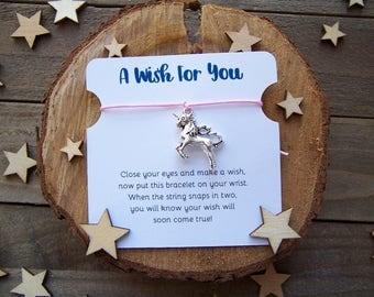 Unicorn Wish Bracelet, Silver Wish Bracelet, Friendship Bracelet, Unicorn Jewelry, Unicorn Charm Bracelet, Cord Bracelet, Unicorn Gift