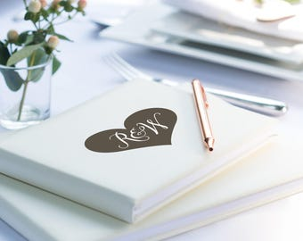 Heart Initials Guest Book, Ivory Leather Guest Book, Personalized Wedding Guest Book (OHSO773)