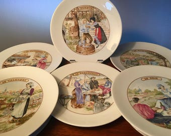 One set of six different cheese porcelain plates from France by FD Chauvigny
