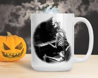 Skeleton Playing Piano Cup, Skeleton Musician Mug, Halloween Skeleton Decoration, Halloween Gothic Table Decor, Skeleton Bones Mug Cup