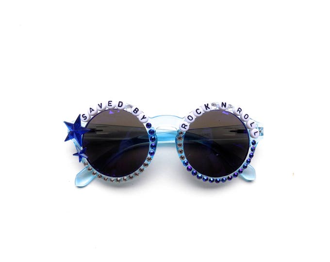 """Velvet Underground """"Saved by Rock n' Roll"""" hand decorated sunglasses, Phish funky embellished shades perfect for YEMSG"""