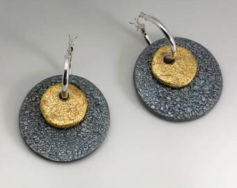Sterling Silver Polymer Clay Two-toned Hoop Earrings