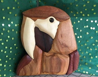 Handcrafted Wood Intarsia Parrot