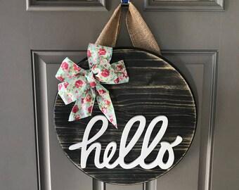 Decor For Front Door, Hello Door Hanger, Front Door Wreath, Wood Round Sign, Front Porch Sign, Wood Wreath, Spring Wreath, Welcome Sign