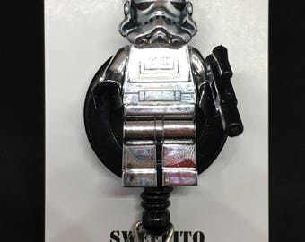 Silver Chrome Stormtrooper™ Star Wars® Darth Vader© ID Holder Customized ~ Retractable Badge Reel ~ Belt Clip ~ Alligator Clip ~ Keychain