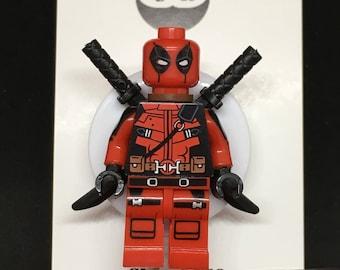 Deadpool™ Marvel© Comics ID Holder Customized with Brick® Minifigure ~ Badge Reel ~ Belt Clip ~ Alligator Clip ~ Nurses Doctors Teachers RN