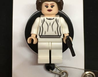 Star Wars© Princess Leia™ ID Holder Customized with Brick® Minifigure ~ Retractable Badge Reel ~ Belt Clip ~ Alligator Clip~ Keychain Nurses