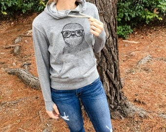 Sidney the Sloth - Grey French Terry - Unisex Slim Fit - Sloth Gift