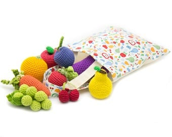 Amigurumi Crochet Fruit and Vegetables,  set in a bag 10 Pcs! eco-friendly Baby toys
