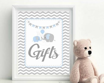 Gift Table Sign, Baby Blue and Grey Elephant Baby Shower Favor Sign, Chevron,Party Sign, DIY Printable, Instant Download -D780 BBEB3
