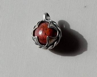 Crimson Cuprite Sphere in Sterling Silver Viking Style Setting