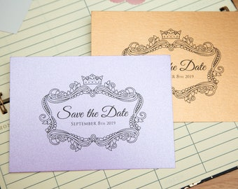 Pearlescent Save the date wedding invitations. Shiny Invite postcards. Double sided with optional envelopes. Elegant wedding stationary. UK