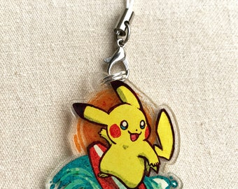 "Pokemon - Surfing Pikachu 1.5"" Acrylic Charm - Keychain or Cell Phone Strap"