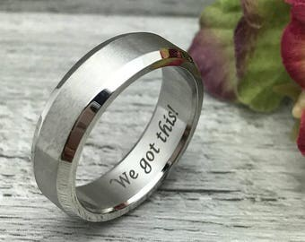 7mm Personalized Titanium Ring, Custom Promise Ring for Him, Purity Ring, Groomsmen Ring, Custom Date Ring, Friendship Ring Coordinates Ring