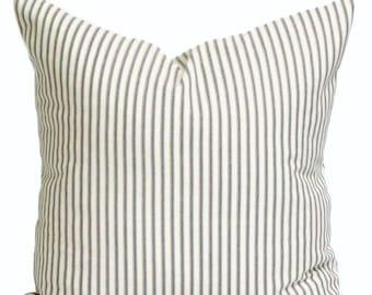Tick Stripe Farmhouse Down Feather Pillow