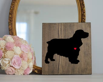 Hand Painted Cocker Spaniel Silhouette on Stained Wood, Dog Decor, Dog Painting, Gift for Dog People, New Puppy Gift, Housewarming Gift