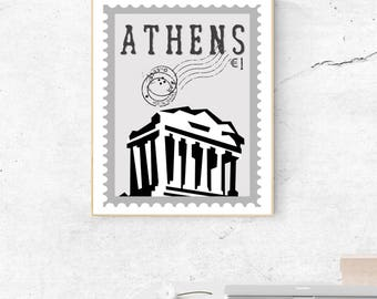 Watercolor Parthenon Athens Postage Stamp Wall Art - Greece Print - Famous Landmark - Wall Decor - World Cities - Travel Poster - Wall Art