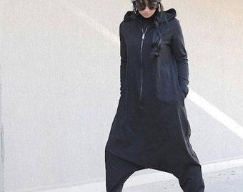 Hooded jumpsuit, maxi jumpsuit, low crotch pants, maxi hooded romper ,loose jumpsuit, wide leg, drop crotch jumpsuit, harem grey pants