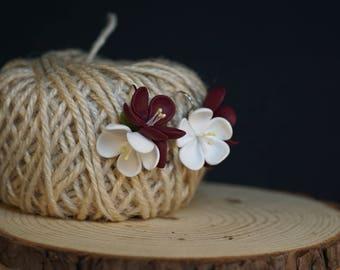 Cherry blossom earrings, dark red rose, white flower, red rose, polymer clay, sakura earrings, romantic gift or her, Bridesmaid, marsala