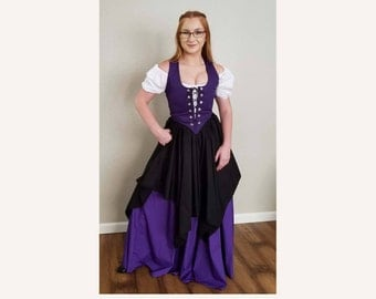RENAISSANCE FAIRY PIXIE Dress-up Pirate Wench Belly Dance Medieval Handkerchief Top Skirt