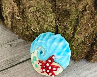 Sea shell Handmade lampwork  glass bead, marine  lampwork bead