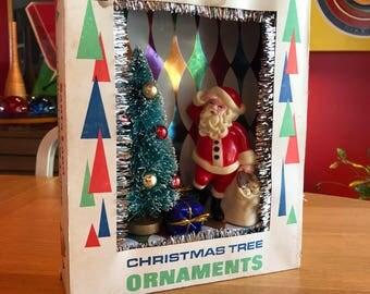 Vintage Christmas Shadow Box / Diorama - Santa with Tree and Sleigh - Santa Land
