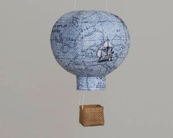 Travel Nursery Decor in Blue Map, Hot Air Balloon, Nursery Decor, Baby Gifts