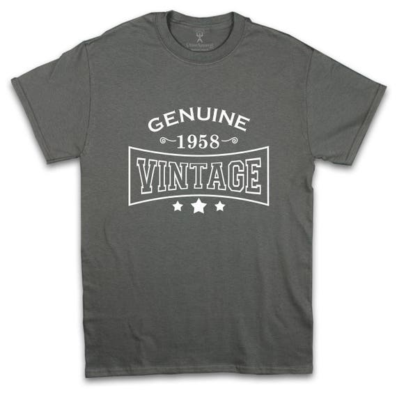 60th birthday gift for a husband, brother or uncle whose birth year is 1958, Genuine 1958 Vintage t-shirt, 60th birthday tee, Utter Apparel