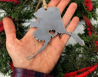 Anchorage Alaska State Ornament Rustic Raw Steel AK Metal Heart Christmas Tree Decor Host Gift Keepsake Travel Wedding Favor By BE Creations