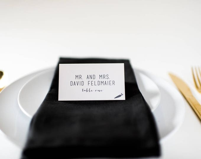ruby place cards / escort cards (sets of 10) // flat or folded wedding place cards / calligraphy neutral gray custom romantic