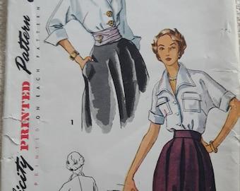 Uncut Kimono sleeve blouse 1950s Simplicity 3017 Size 16 bust 34