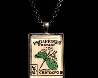 Philippines Postage Stamp Necklace | Philippines | Vintage stamp |