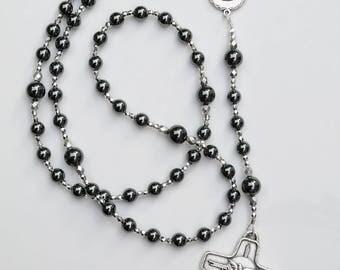 Confirmation Gift for Boys - Personalized Name Holy Spirit Rosary - Gray Grey Hematite Rosary - Catholic Gift for Boys Men RCIA Sponsor