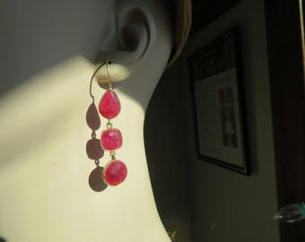 Handcrafted Genuine 18.00ctw Ruby 14KT Gold/ Sterling Silver French Wire Dangle Earrings Dangle, Wt.  7.5 Grams
