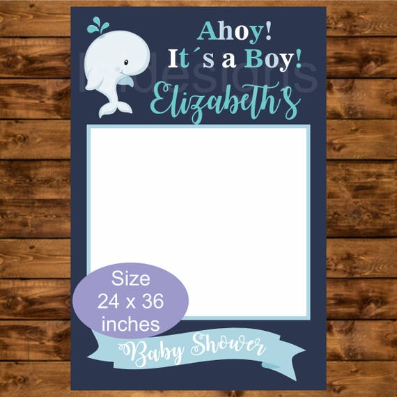 Personalized Whale Baby Shower Photo Booth Frame, Printable 24 x 36 ...
