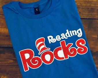 Reading Rocks T-Shirt, Teacher Shirt, Read Across America Shirt, Reading T-Shirt, Librarian Shirt, Shirts for Teachers, Reading Teacher Tee