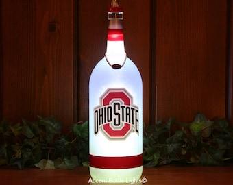 Ohio State Buckeyes Bottle Lights- Football Lamp- Man Cave Decor- OSU- Home Bar- Gift- College Sports- Wine- Liquor- Sign- Nightlight- LED