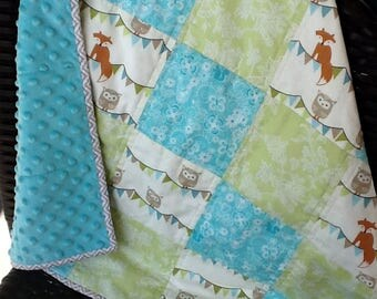 Foxy Minky Baby Quilt, Patchwork Cotton Top, Soft Minky Dimple Dot Back, Newborn Quilt, Stroller or Car Quilt, Preemie Quilt