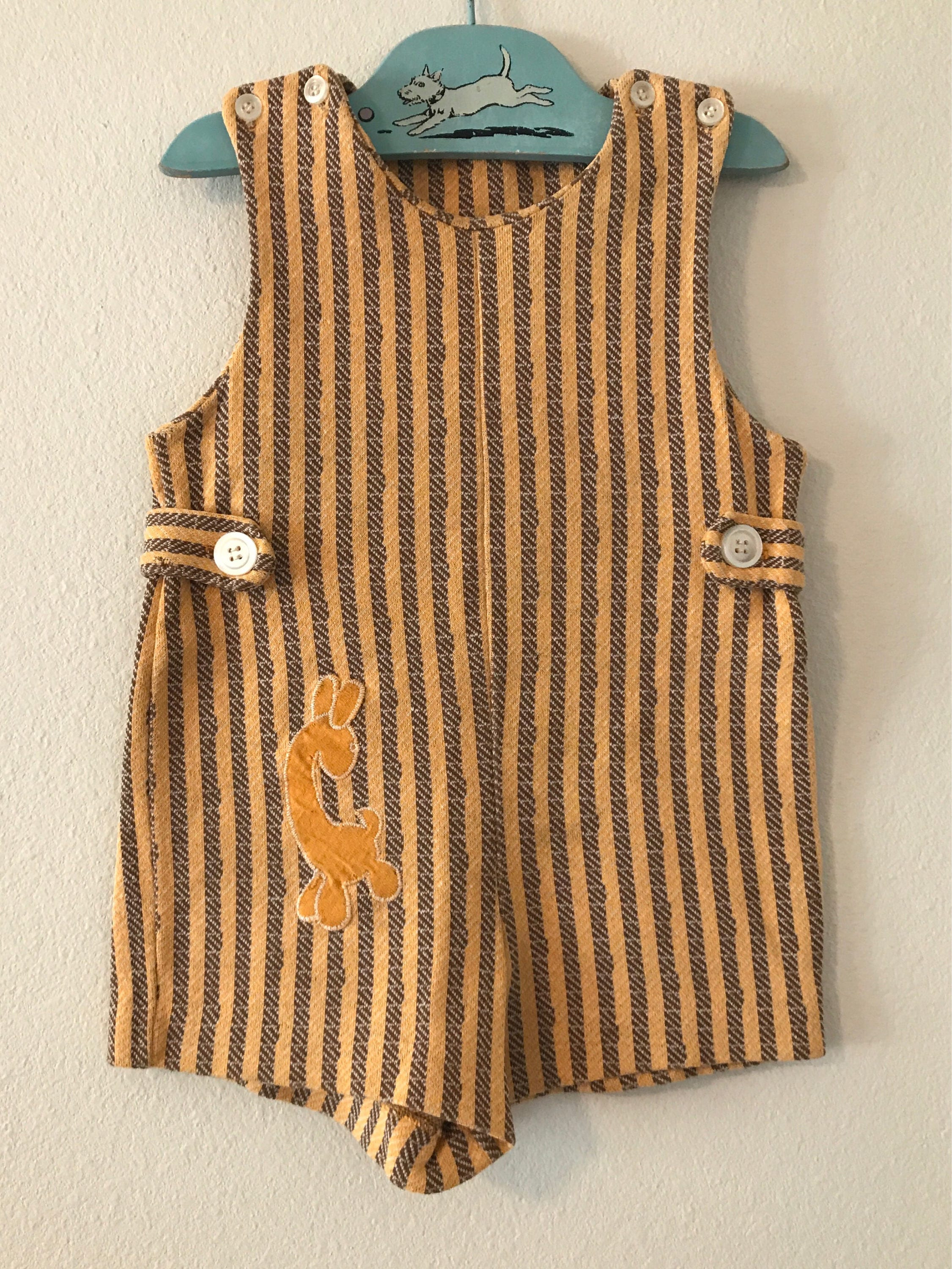 Vintage Mustard Yellow Baby Romper Vintage Yellow and Brown Striped