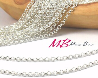 2.5mm Silver Plated Chain, Rolo Chain Spool, 10 Meters