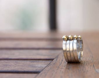 Sterling silver rings with 18K gold. 100% Handmade. Stacking rings. NURA Collection